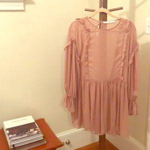 Zara Dusty Rose Sheer + Gold Tunic/Dress
